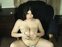 Chubby lusty all natural webcam nympho was playing with saggy tits