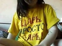 Amateur teen fondling her pussy in yellow T-shirt
