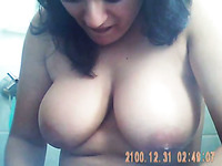 Amateur self taped video of my ex-wife flashing her big boobies