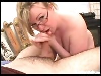 """Curvy blonde milf tit fucked and sucking her mans cock"""