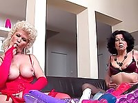 Experienced babes Raquelle and Francsina adore playing with big toys