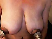 Amateur whore exposed her darn huge boobies which she pumped up a bit