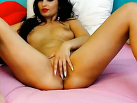 Tanned stunning Latina MILF had a dildo to pet her juicy meaty pussy
