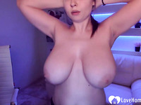 Busty brunette girl likes to dance naked