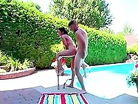 Outdoor fuck by the pool with my step daughter