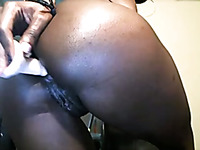 Chocolate oiled fantastic webcam beauty was teasing her anus with a toy
