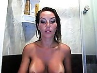 Auburn nasty webcam whore was bragging of her big melons and her bum