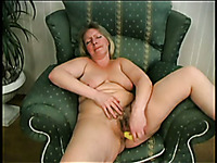 Amateur mature grey haired BBW with big rack loves nothing but masturbation