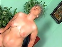 Grey haired dirty amateur bitch keeps on riding strong cock