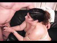 Amateur square shaped BBW white bimbo gives head and handjob
