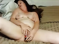 Using a red dildo slutty brunette wife of my buddy agreed to masturbate on cam