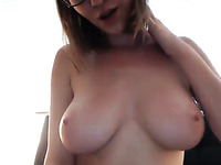 Stunning perfect MILFie babe plays with her fantastic big boobies on webcam