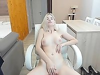 Hot Russian blonde babe masturbating with lush toy inside her