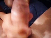 Amateur hottie of my buddy was both riding and sucking him dry