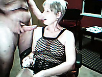 Blond haired wrinkled mature webcam whore provided her man with BJ