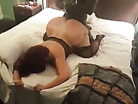 Doggy style interracial sex with incredibly slutty amateur BBW wifey