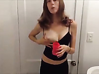 Amateur brunette tried to milk her own natural tits on webcam