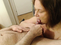 Amateur all natural black haired wife gives a super stout blowjob