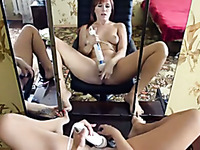 Amateur all naked MILF with quite nice tits was teasing herself with vibe
