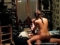 Insatiable white amateur chick fucked on homemade sex tape