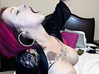 Tattooed hilarious webcam Gothic nympho was flashing her red panties