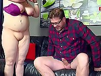 German fat chubby housewife seduced at home