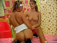 Well graced and cute lesbians enjoy licking and toying their muffs warmly